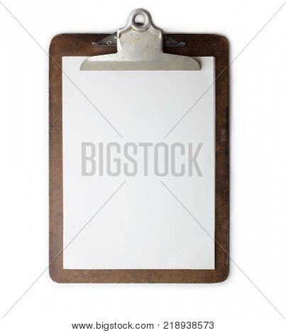 Old well used clipboard with new clean sheet of paper. Dark brown clipboard. Isolated on white. High resolution.