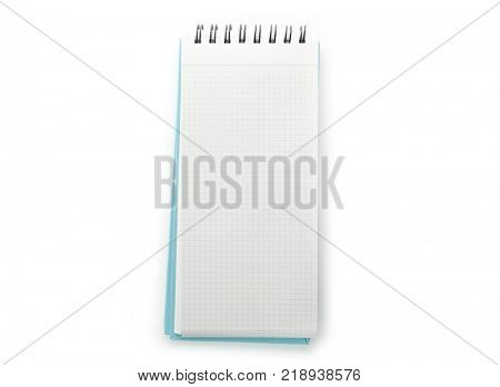 Blank vertical memo pad with light blue cover, isolated on pure white.
