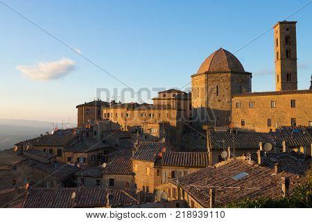 Volterra city landscape Tuscany Italy. Hystorical town. Italian landmark.