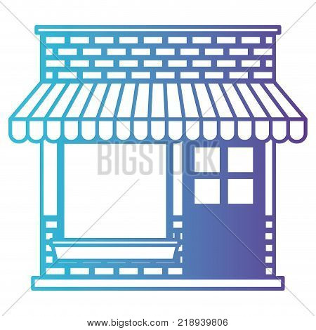store facade with sunshade in degraded blue to purple color contour vector illustration