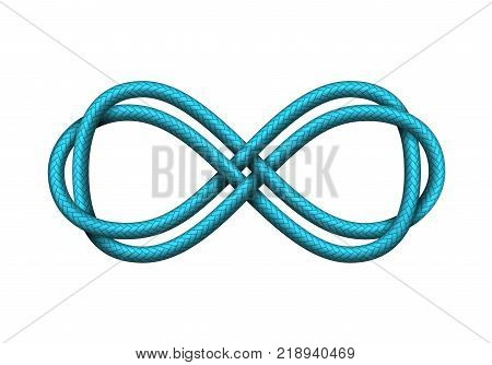 Infinity sign made of twisted cords. Mobius strip symbol. Vector realistic illustration on white background.