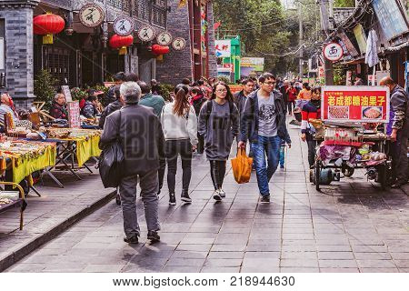 Chengdu China - October 29 2016: Crowdy market by Wenshu monastery in the city center.