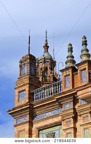 Close-up Plaza de España, Seville. The Plaza de Espana is a beautiful plaza in the Parque de Maria Luisa in Seville, Spain. The Plaza de Espana is an example of Regionalism Architecture.