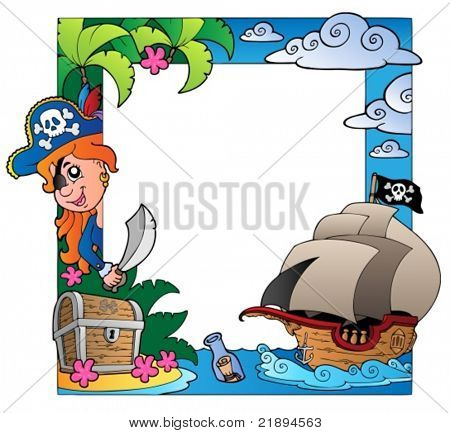 Frame with sea and pirate theme 3 - vector illustration.