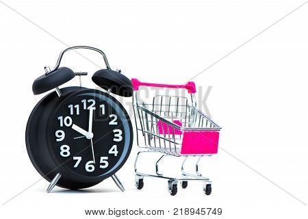 Black Alarm Clock And Shopping Cart Or Supermarket Trolley Isolated On White Background, Business Fi