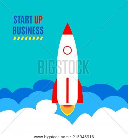 Successful launch of startup. Flat art style design for creative illustration of business startup. Startup technology concept. Vector illustration. Flying rocket