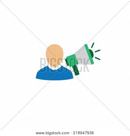 Brand Ambassador Thin Line Outline Icon Set w Megaphone Influencer Marketing Person and Representative poster