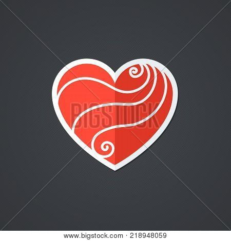 Vector Heart Icon. Single Object. Health Monoicon. Symbol for Interface. Ornamental Holiday Card.