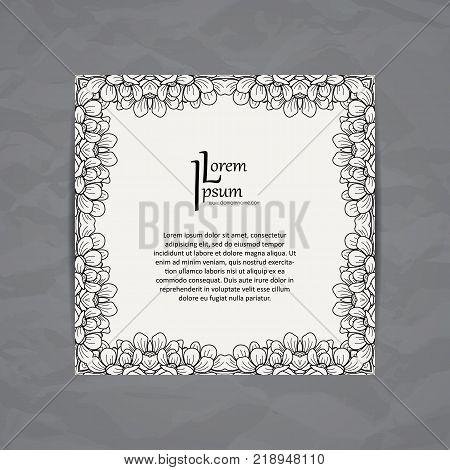 Vector design template. Brochure flower style. Vintage frame or background. Business card with floral border.