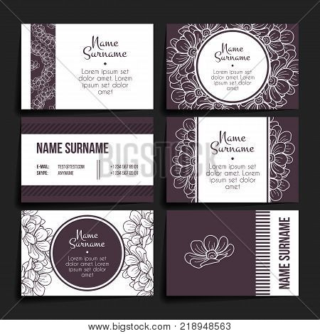 Set of vector design templates. Brochures in random flower style. Vintage frames and backgrounds. Business card with floral circle ornament.