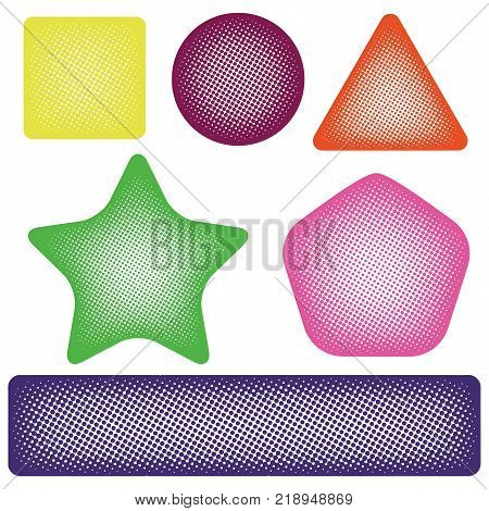 Vector set of geometric design elements isolated on white background halftone colorful triangle rectangle pentagon star circle with repeated dots of different sizes speach bubbles