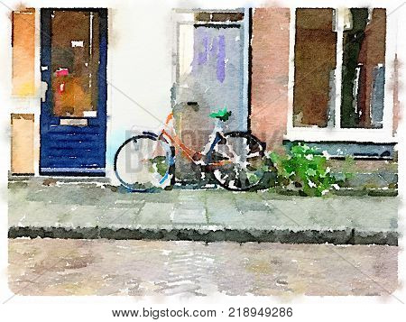 Digital watercolor painting of a Dutch bicycle painted orange leaning agains the door of a building with space for text.