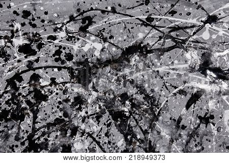Abstract Expressionism Pattern. Style Of Drip Painting. Black And White Paint.
