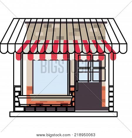 store facade with sunshade in watercolor silhouette vector illustration