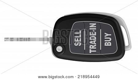 SELL, TRADE-IN, BUY - inscription on the ignition key of the car. Ignition key of the car in the open position with the inscription SELL TRADE-IN BUY on the buttons. Isolated. 3D Illustration
