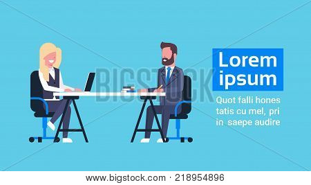Business Man On Job Interview With Female Hr Manager, Businesspeople Sitting At Office Desk On Meeting Flat Vector Illustration