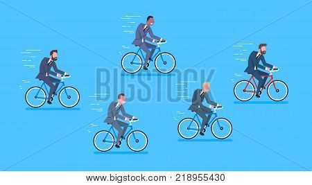 Group Of Mix Race Business Men Ride Bicycle Fast Competition Concept Flat Vector Illustration