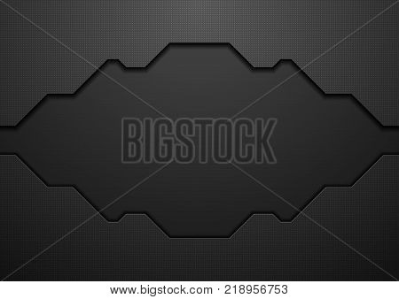 Black tech geometric concept background. Vector design