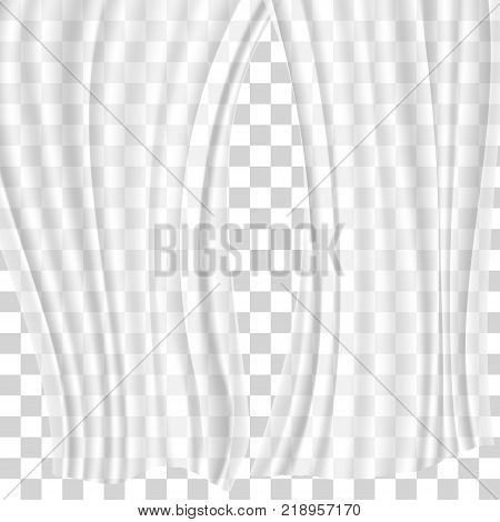 Curtains different forms. Waving in the wind and hanging curtains for the window decoration on transparent background. Vector illustration