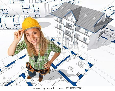 handywoman on 3d  house background