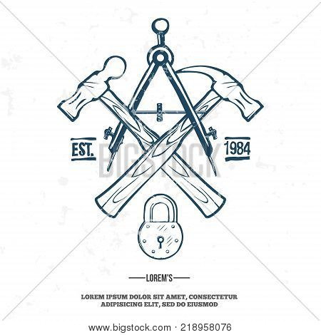 Vintage carpentry tools, labels and design elements vector illustration. grunge on separate layer