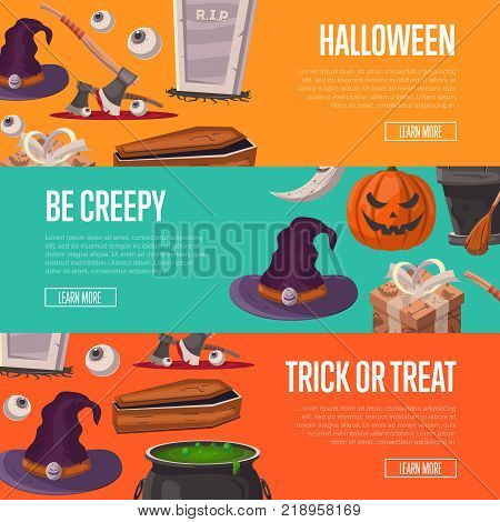 Trick or treat and be creepy halloween party flyers. Potion cauldron, witch hat, rip gravestone, witch broom, executioner ax, halloween pumpkin head jack lantern, crescent moon vector illustration.