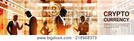 Group Of Businesspeople Silhouettes Bitcoin Crypto Currency Concept Digital Web Money Technology Horizontal Banner Vector Illustration