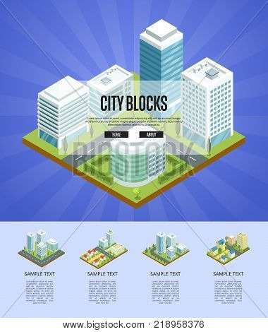 Modern city blocks isometric infographics. Skyscrapers with shiny glass facades, city streets with urban infrastructure and decorative plants. Downtown landscape, business district vector illustration