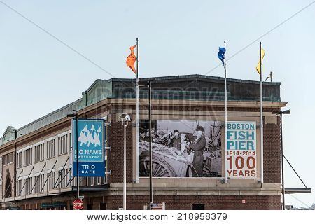 Boston MA, USA 05.09.2017 - 100 years anni fish pier market place in summer