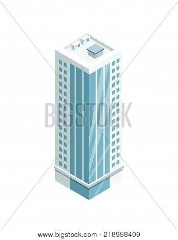 Multi-storey building with glass facade 3d isometric icon. Modern city architecture element, urban skyscraper vector illustration.