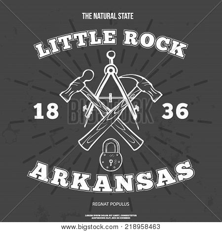 Little Rock, Arkansas. t-shirt graphic. Vector illustration