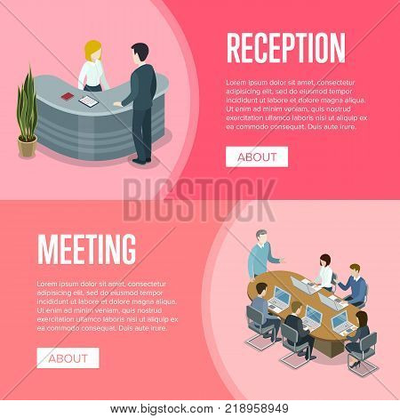 Company reception stand and business meeting isometric 3D banners. Together professional occupation, teamwork collaboration concept with business people at table. Office workspace vector illustration.