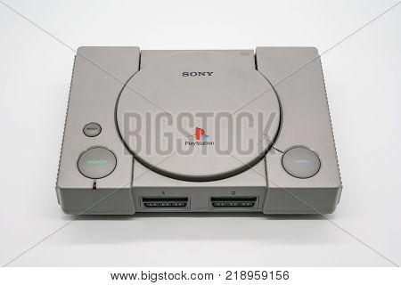 Bangkok, Thailand - Dec 20, 2017: Vintage Playstation Console