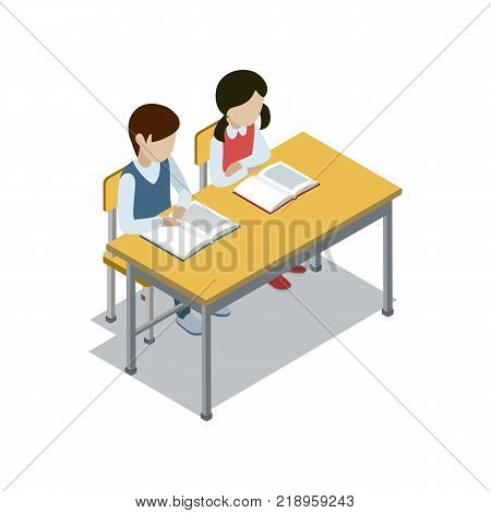 Pupils sit at desk in classroom and studying 3d isometric icon. Primary school education vector illustration.