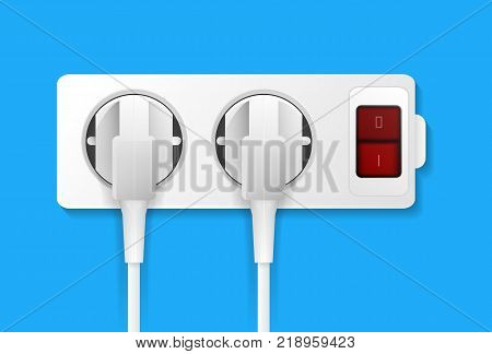 Realistic electric outlet with button and plugs. Power plug and socket, energy switch, isolated on blue background vector illustration. Electrictric equipment for house interior wall installation.