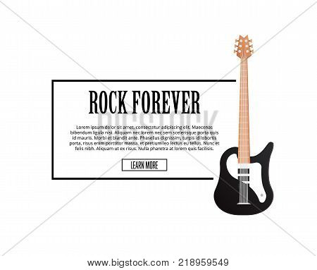 Rock forever poster with classic acoustic guitar in flat style. Music shop banner or musical rock-n-roll festival symbol isolated on white background. Popular music entertainment vector illustration