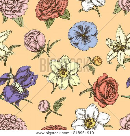 Bouquet vintage vector flowers hand drawn sketch style bud wedding bloom elegant birthday nature flowers design romantic flora holiday blossom illustration. Floral bouquet seamless pattern background