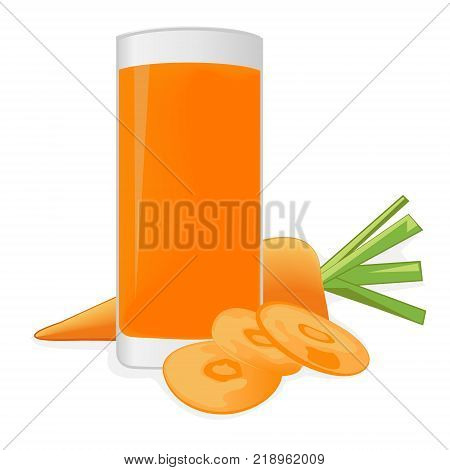 Carrot juice and a carrot on a white background