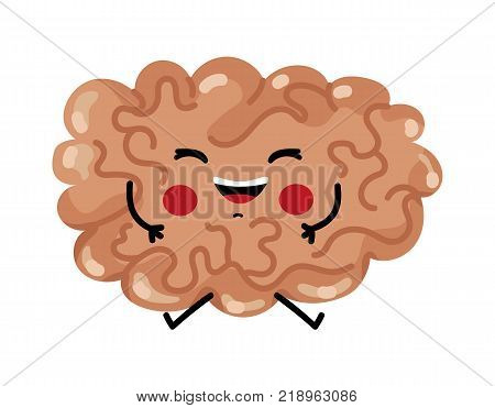 Happy brain cute cartoon character. Body anatomy element, health medical sign, internal organ, human body physiology isolated on white background vector illustration.