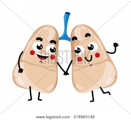 Human lungs cute cartoon character. Body anatomy element, health medical sign, internal organ, human body physiology isolated on white background vector illustration.