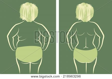 Fat and slim girl vector illusstration drawing in green color