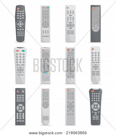 Remote control set for TV, DVD, satellite receiver or media center. Front view modern infrared controller with buttons collection isolated on white background vector illustration.