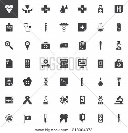 Universal medical elements vector icons set, modern solid symbol collection, filled style pictogram pack. Signs, logo illustration. Set includes icons as cardiogram, hospital, stethoscope, medicine