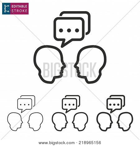 Interact - outline icon on white background. Editable stroke. Vector illustration