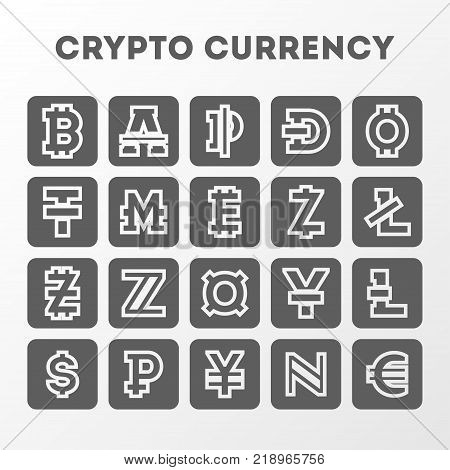 World crypto currency sign collection. Bitcoin, bitecoin, litecoin, namecoin, monero, dash, euro, yen, ruble, dollar, lira, zcash, currency symbols. Online financial system, worldwide payment service.