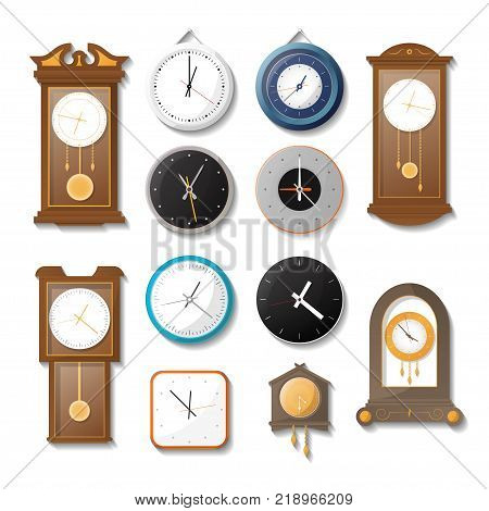 Classic mechanical wall clock set. Modern analog chronometer, antique wooden pendulum clock, kitchen watch, office round wall clock isolated vector illustration in flat style. Time symbol collection