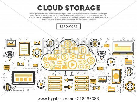 Global cloud linear style infographics. Network cloud service, world data safety, financial system protection, online data backup, interactive media processing, network communication concept