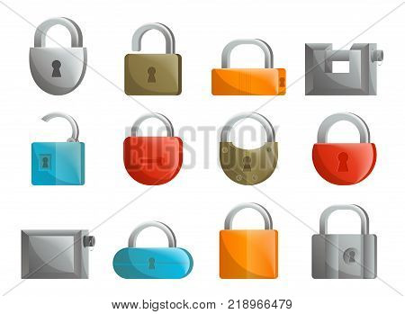 Padlock icon set in flat design. Closed and opened lock collection isolated on white background vector illustration. Security protection, key safety element, blocking sign for mobile application.
