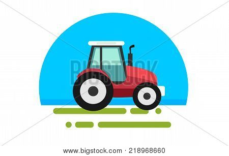 Flat red tractor in a flat style isolated. Agricultural transport for farm in flat style. Heavy agricultural machinery for field work. Tractor icon. Vector illustration.