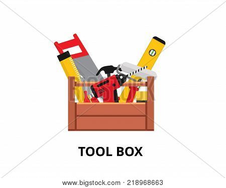Set isolated icons set building tools repair. Include drill, hammer, screwdriver, saw, file, putty knife, ruler, roller, brush. Kit flat style. Tool box. Vector illustration